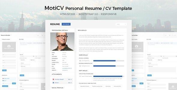 Download Free Moticv Responsive Resume Cv Html5 Template Resume Design Template Cv Template Free Resume Template Free