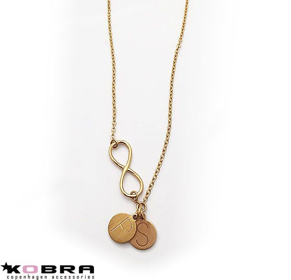 Infinity halskæde i guld med ID Tag, inklusiv din gravering