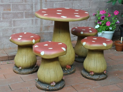 TOADSTOOL TABLE AND FOUR CHAIRS CHILDRENS SETTING Mushroom Childs Play  Stool NEW. Kid GardenFairies ...