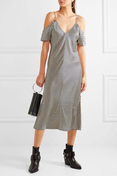 T by Alexander Wang - Cold-shoulder Striped Silk-satin Midi Dress - Navy - US