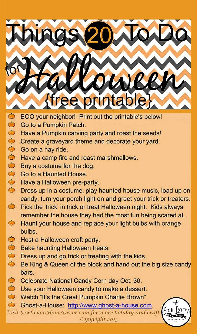 20 Fun things to do with kids this Halloween. sewlicioushomedecor.com