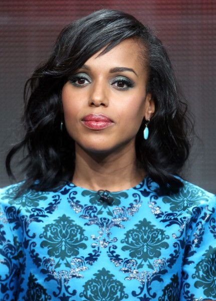 Kerry Washington Medium Wavy Cut with Bangs - Shoulder Length Hairstyles Lookbook - StyleBistro