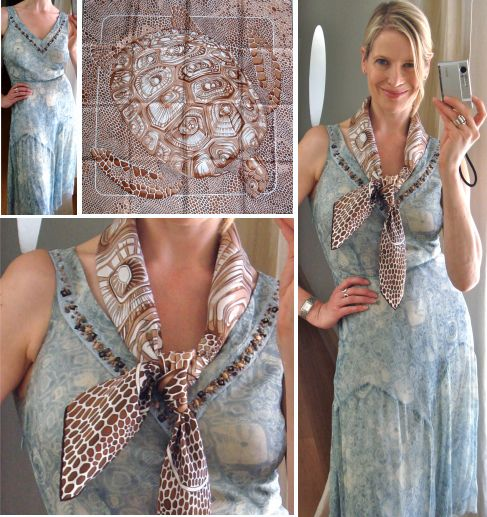 how to wear a hermes scarf with a dress