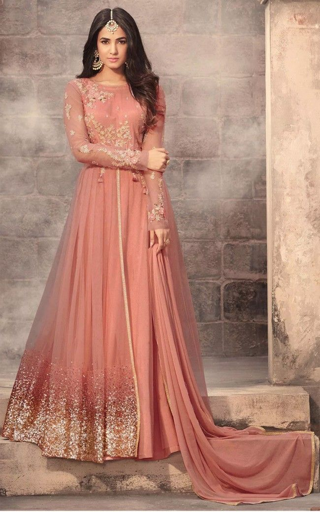 a8cc5b8b4 Buy Dark Peach Embroidered Semi-stitched Net Abaya Style Suit Online