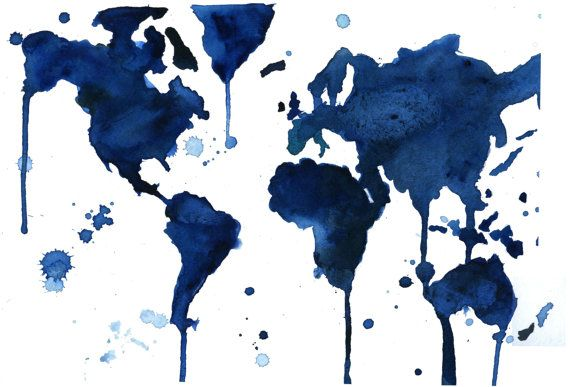 Blue Watercolor painting of World Map