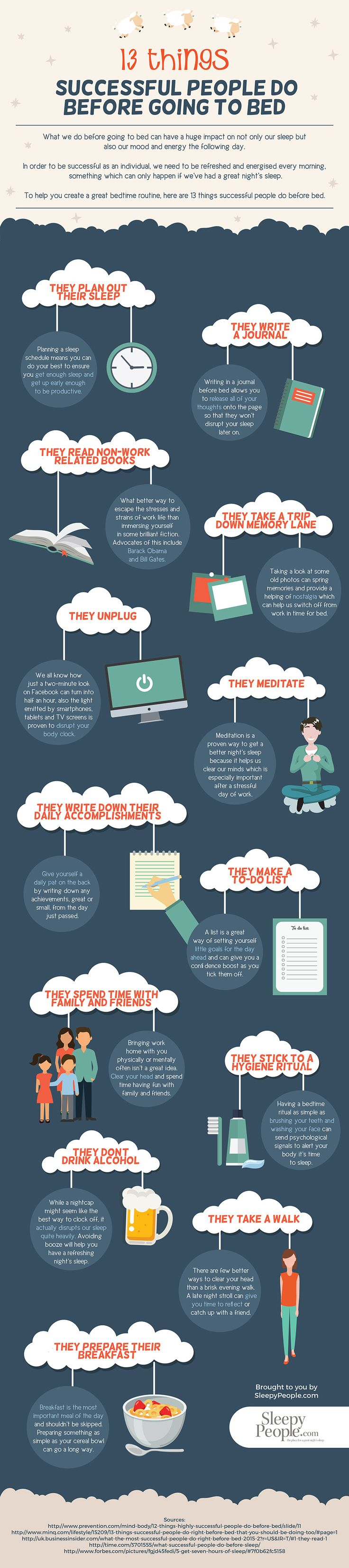 13 Things Successful Entrepreneurs Do Before Going To Bed #Infographic #Entrepreneur
