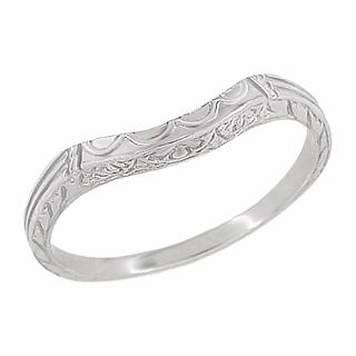 i1Art Deco Curved Wedding Band in Platinum