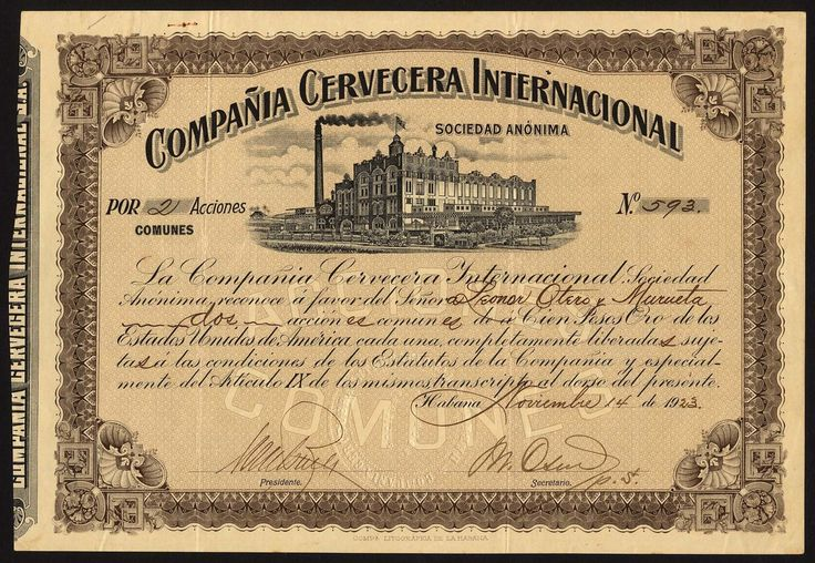Compania Cervecera Internacional S.A., a good collection of certificates from this large Brewery comprising certificate for common shares, 19[23], no.593