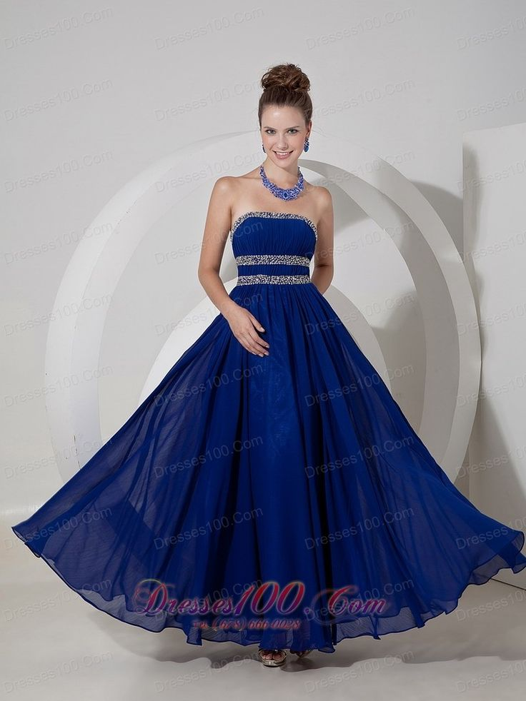 Best Royal Blue Empire Strapless Prom Dress Chiffon Beading - US$146.23