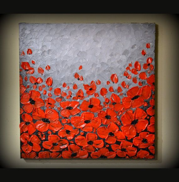 ORIGINAL Modern Art, Abstract Landscape Artwork, Red Poppies Acrylic Painting 20 x 20 Ready to Hang Wall Decor, Perfect gift