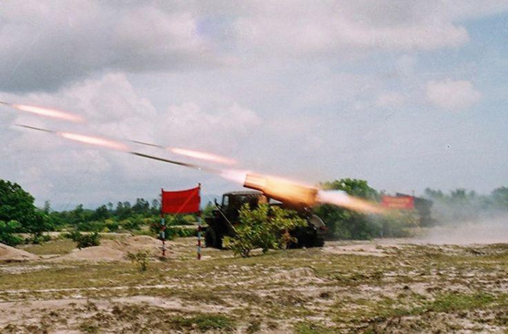 Vietnamese BM-21 Grad rockets firing
