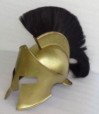 MEDIEVAL KING LEONIDAS HELMET ROMAN BRASS SPARTAN 300 MOVIE HELMET W/ BLACK PLUM