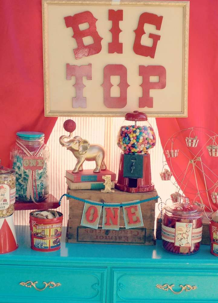 Vintage Circus Birthday Party decorations!  See more party planning ideas at CatchMyParty.com!