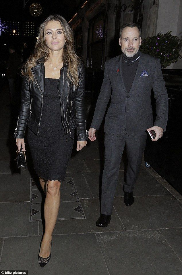 Stylish pals: Elizabeth Hurley looked gorgeous as she joined close friend David Furnish for dinner at Scott's Restaurant in Mayfair, London on Tuesday