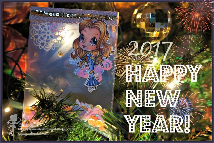 Alicia Bel, Card, Fusse, shaker card, banner card, new year, Sementes de Papel