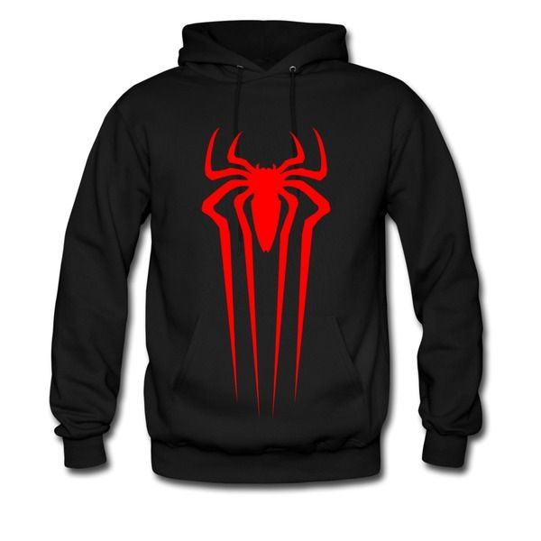 Men Spiderman Front Logo Black Hooded Sweatshirt Online-Funny Clothing and  More than 80 thousands