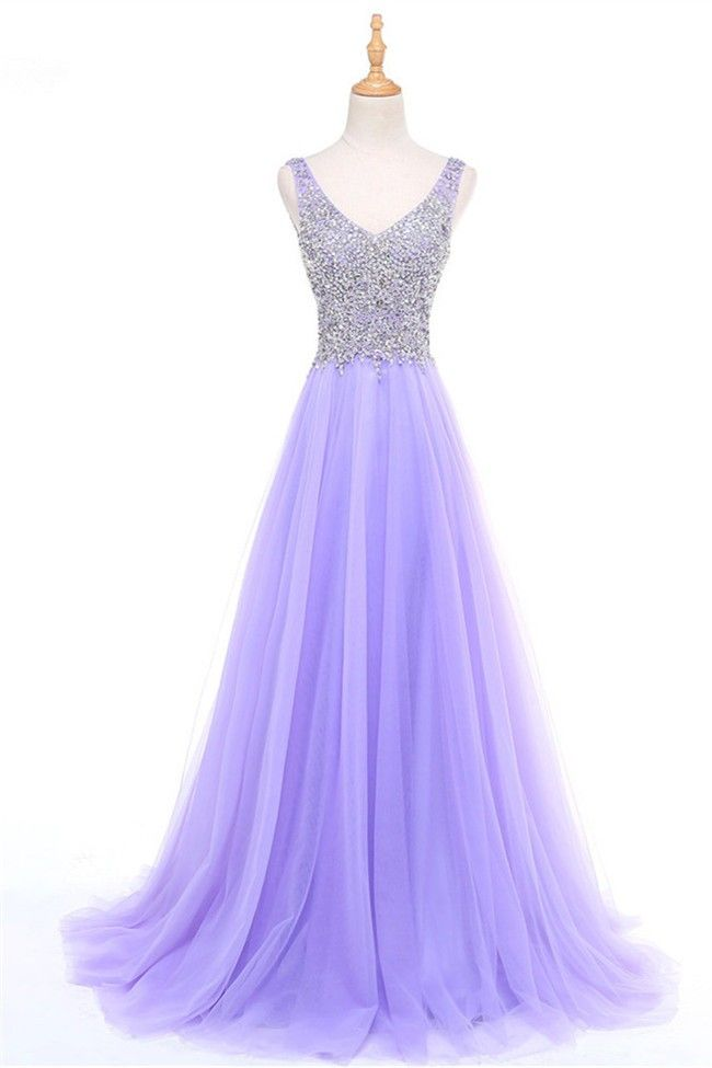 a683030745b Classic A Line V Neck Sleeveless Lavender Tulle Beaded Prom Dress ...