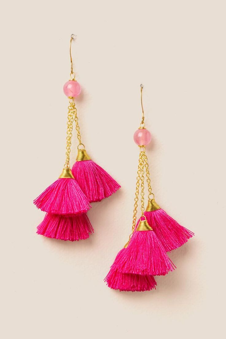 Clementine Cluster Tassel Earring- Neon Pink