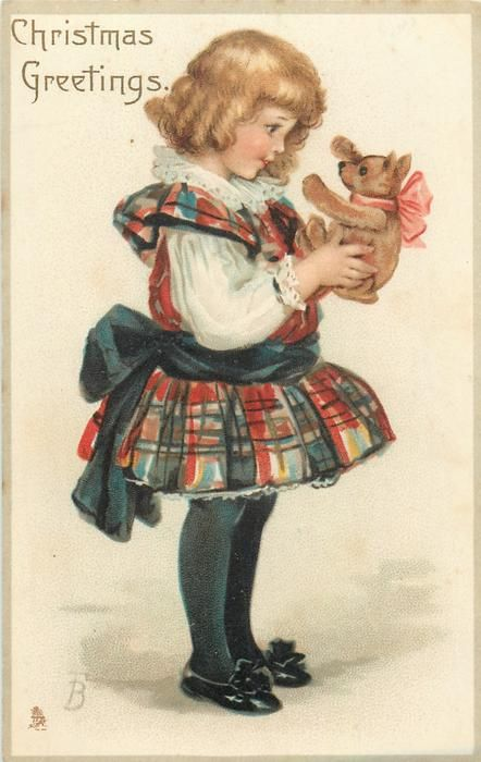 CHRISTMAS GREETINGS  girl carries teddy bear, faces right, wearing skirt