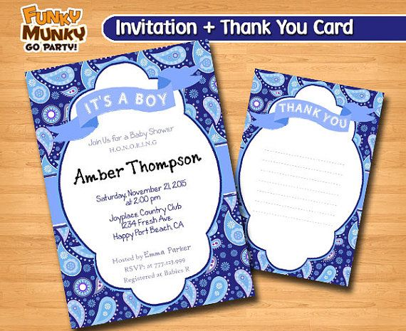 Blue Baby Shower Invitation  Baby Shower by funkymunkygoparty