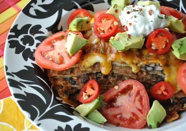 Mexican Pizza Lasagna (Vegetarian and Meat options - yay)