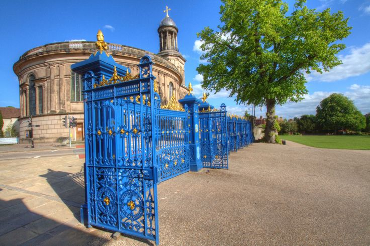 The blue gates that mark the entrance to the Quarry Park, Shrewsbury