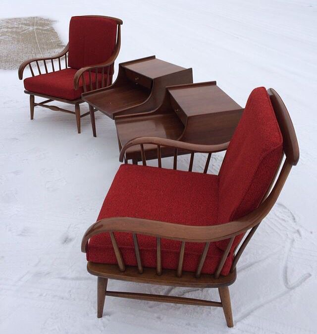 A Suite Of Haywood Winfield Early Furniture With Original Red Cushions.