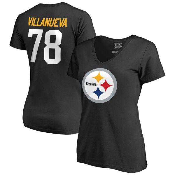 Alejandro Villanueva Pittsburgh Steelers Pro Line by Fanatics Branded Women's Team Icon Name & Number T-Shirt - Black - $34.99