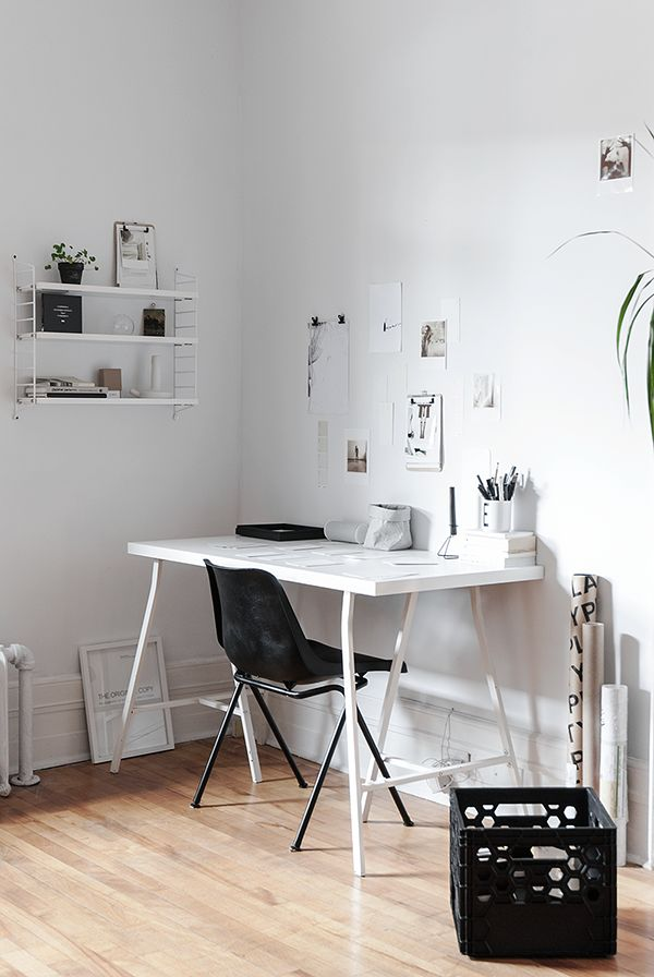 Simple & practical home office in black & white