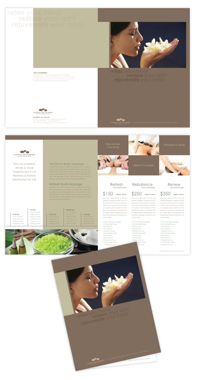 Best Spa Brochures Images On   Brochure Design