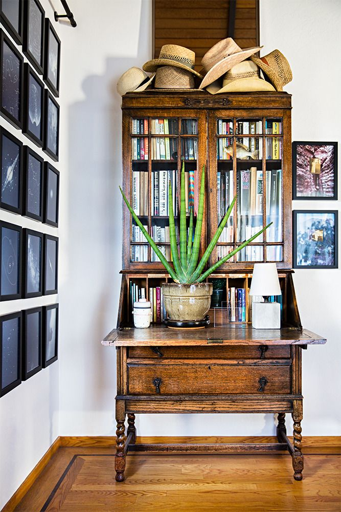 books in cabinets