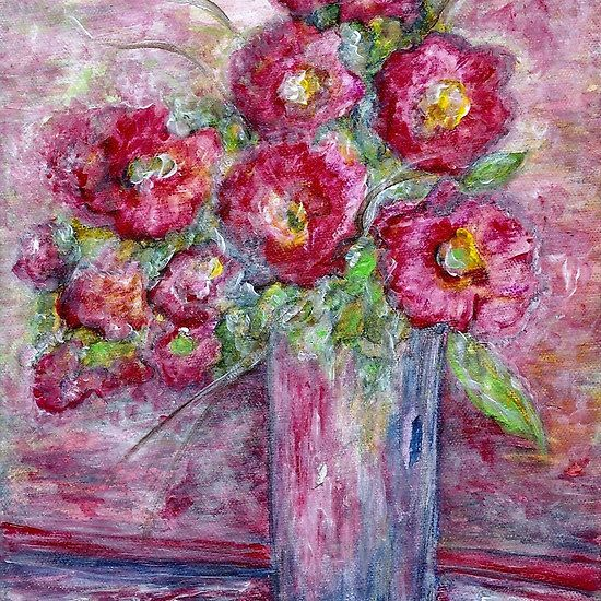 Pink Beauties In A Blue Crystal Vase