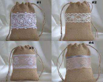 Burlap Lace Wedding Favor Bags / Wedding Favors / Wedding