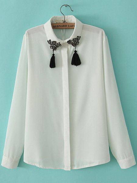 White Lapel Long Sleeve Bead Tassel Blouse US$30.66