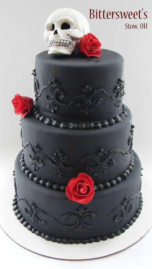 Gothic Wedding Cake. It'd be great for Halloween or Día de los Muertos?