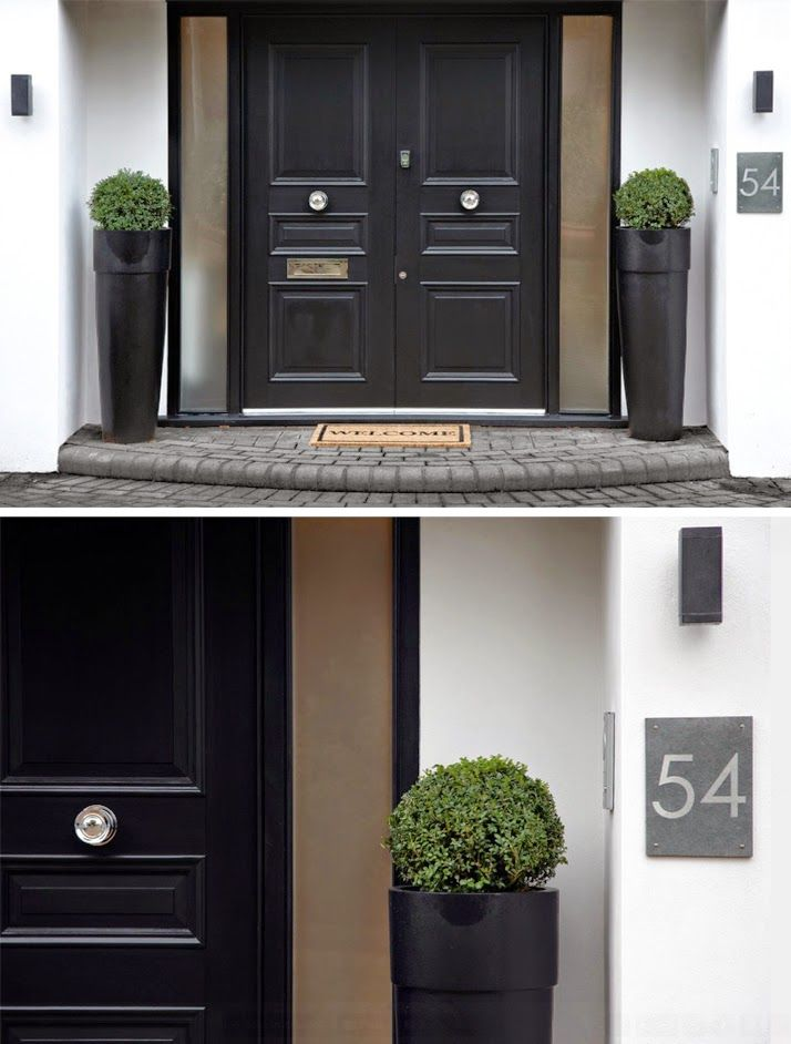 high gloss black and tan | classic double front door | contemporary Long Tom pots with topiary Buxus (boxwood) balls & large clean contemporary house number plate || The Paper Mulberry: || DESIGNERS: BOSCOLO