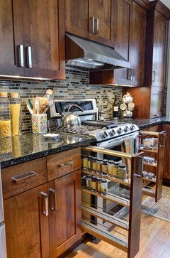 LOVE the spice racks!!!  Houzz - Home Design, Decorating and Remodeling Ideas and Inspiration, Kitchen and Bathroom Design