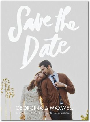 warmly written signature white photo save the date cards photo wedding invitationssave