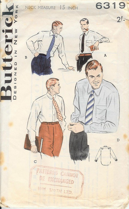 Vintage paper pattern for a man's shirt: Vintage Patterns, Paper Patterns