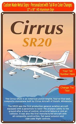 Cirrus SR20 Custom HD Airplane Sign - Brown/Gold