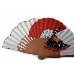 Abanico flamenca el baile flamenco, pintado a mano.