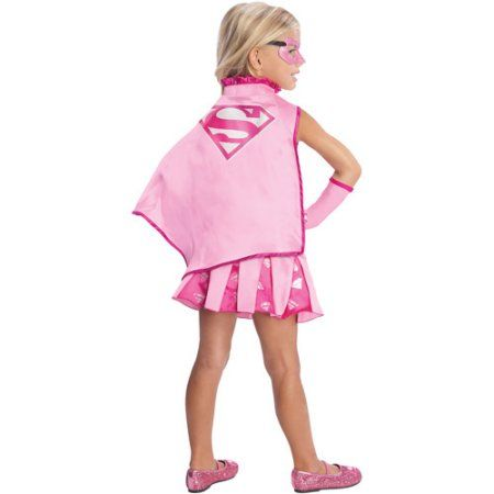 Supergirl Cape with Collar Child Costume, Girl's, Size: Small, Pink
