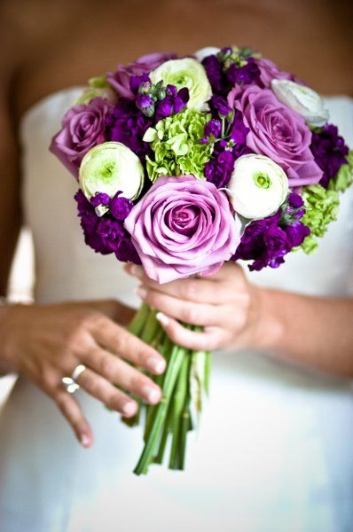 Purple Bouquet Fall Spring Summer Winter Wedding Flowers Photos & Pictures - WeddingWire.com