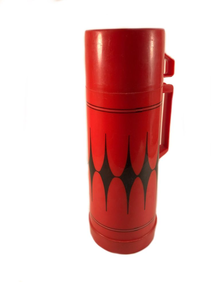 Vintage Aladdin Thermos - Red and Black Harlequin Aladdin Thermos by VintageVybe on Etsy