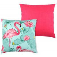 coussin en coton flamand rose