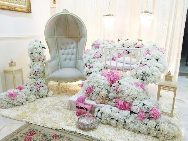 Decoration baby cradle for naming ceremony. Pelamin buaian berendoi, cukur  jambul dan full pakej