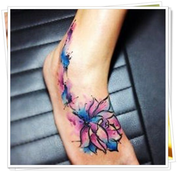 foot tattoo watercolor flower - Tìm với Google