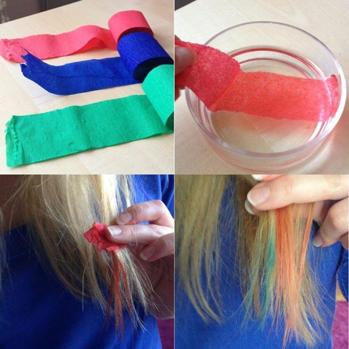 Utilisez du papier crépon.. une astuce plutôt rigolote et pas cher du tout mais qui marche. Malheureusement, vu que le papier crépon n'est pas beaucoup pigmenter, cette astuce ne fonctionne que sur les blondes ou les personnes aux cheveux très clairs à moins que vous fassiez une décoloration (Que je vous déconseille).