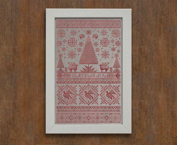 Scandinavische Kerstmis Sampler - Instant Download PDF Cross Stitch borduurwerk patroon
