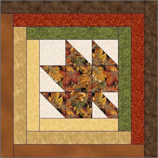 (7) Name: 'Quilting : Maple Leaf Log Cabin Quilt Block